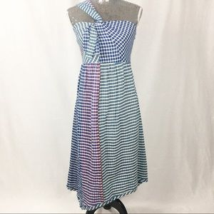 Anthropologie Maeve 1 Strap Shoulder Gingham Dress